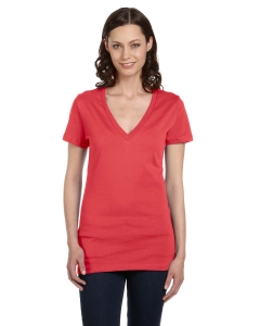 Bella Ladies Jersey Short-Sleeve Deep V-Neck T-Shirt